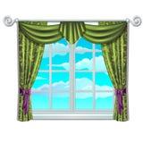 Klassiek venster en mening van hemel en wolken royalty-vrije illustratie