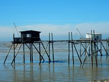 Klassiek vissers` s plattelandshuisje dichtbij Royan Royalty-vrije Stock Afbeelding