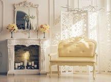Klassiek wit Binnenland van Woonkamer met Sofa Near Fireplace royalty-vrije stock afbeeldingen
