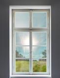 Klassiek wit venster en het bos royalty-vrije stock foto's