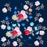 Klassieke achtergrond met het tuinieren bloemen Eindeloze druk voor stof stock illustratie