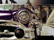 Klassieke auto op de Brug van Brooklyn Stock Afbeelding