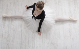 Klassieke Balletdanser in gespleten portret, hoogste mening Stock Afbeeldingen