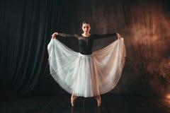 Klassieke balletdanser in motie op het stadium stock fotografie