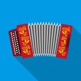 Klassieke bayan, harmonika of harmonisch pictogram in vlakke stijl op witte achtergrond Russische het symboolvoorraad van het lan stock illustratie