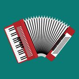 Klassieke bayan of harmonika Muzikaal instrument Harmonika vlakke stijl Bayanclose-up Realistische illustratie stock illustratie