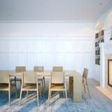 Klassieke binnenlandse bibliotheek met houten meubilair en open haard 3d Stock Afbeelding