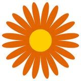 Klassieke bloem klem-kunst Eenvoudig oranje madeliefje, bloempictogram, symbo stock illustratie