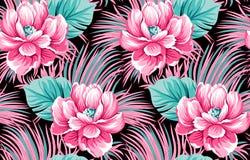 Klassieke bloemsamenvatting met zwarte achtergrond royalty-vrije illustratie