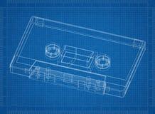 Klassieke cassette 3D blauwdruk Stock Fotografie