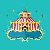 Klassieke Circustent met banner voor tekst, Vectorillustratie Stock Foto