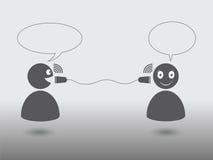 Klassieke communicatie pictogrambespreking tussen twee mensen Royalty-vrije Stock Foto