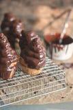 Klassieke Cupcakes met chokolateschuimgebakje het Berijpen Royalty-vrije Stock Afbeelding