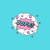 Klassieke de toespraaksticker OOPS van het strippaginaboek! met wolkenbel vector illustratie