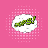 Klassieke de toespraaksticker OOPS van het strippaginaboek! met wolkenbel en p stock illustratie