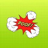Klassieke de toespraaksticker POOF van het strippaginaboek! met wolkenbellen en stock illustratie