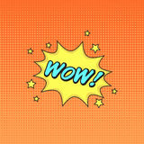 Klassieke de toespraaksticker van het strippaginaboek WAUW! met toespraaksymbool en s royalty-vrije illustratie