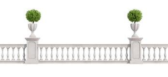 Klassieke die balustrade op wit wordt geïsoleerd Stock Foto's