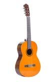 Klassieke die gitaar op wit wordt geïsoleerd Stock Afbeeldingen