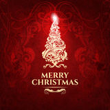 Klassieke donkerrode in premie elegante Vrolijke Kerstkaart Stock Afbeelding