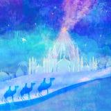 Klassieke drie wijzenscène en glanzende ster van Bethlehem Stock Afbeeldingen