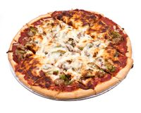 Klassieke dunne de korstpizza van Chicago Stock Foto's