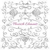 Klassieke elegant bloeit decoratieve elementen De koninklijke kalligrafische vectorinzameling van de wervelingenlijn stock illustratie