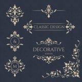 Klassieke elementen Decoratieve vectormonogram en grens Royalty-vrije Stock Afbeeldingen