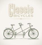 Klassieke fiets achter elkaar vector illustratie