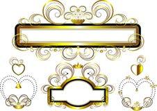 Klassieke frames die met gouden sterren en kromme worden verfraaid Royalty-vrije Stock Foto's