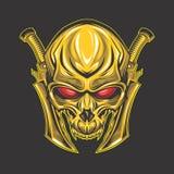 Klassieke Gouden schedel rode ogen stock illustratie