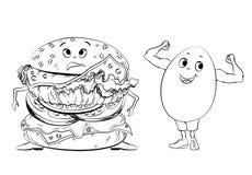Klassieke hamburger op een pop-artachtergrond Zwart-witte Grote sandwich Royalty-vrije Stock Foto