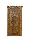 Klassieke houten die deur op een witte achtergrond wordt geïsoleerd stock foto