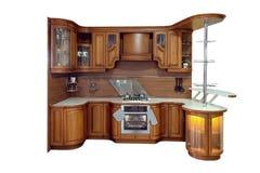 Klassieke houten keuken De belichaming van moderne die ontwerpoplossingen op witte achtergrond worden geïsoleerd stock foto