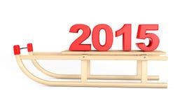 Klassieke Houten Slee met 2015 Nieuwjaarteken Stock Afbeeldingen