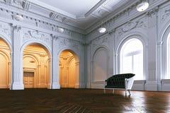 Klassieke leerbank in groot luxueus herenhuis De mening van het perspectief royalty-vrije illustratie