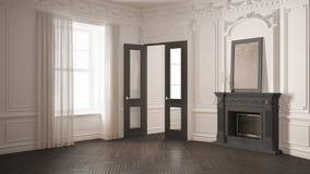 Klassieke lege ruimte met grote venster, open haard en visgraat wo royalty-vrije illustratie