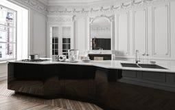 Klassieke luxe moderne zwart-witte keuken royalty-vrije illustratie