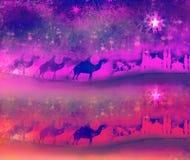 Klassieke magische scène drie en glanzende ster van Bethlehem Royalty-vrije Stock Foto's