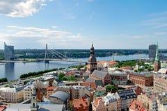 Klassieke mening over Riga van hierboven Stock Afbeeldingen