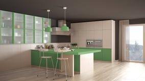 Klassieke minimale witte en groene keuken met parketvloer, wijze Royalty-vrije Stock Fotografie