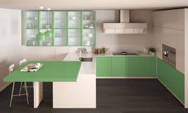 Klassieke minimale witte en groene keuken met parketvloer, wijze Stock Afbeelding