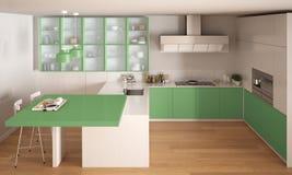 Klassieke minimale witte en groene keuken met parketvloer, wijze Royalty-vrije Stock Afbeelding