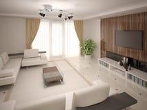 Klassieke moderne woonkamer met functioneel meubilair stock illustratie