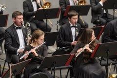 Klassieke musici die op fluit spelen Stock Foto