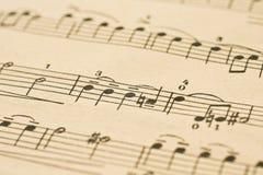 Klassieke Muziek - nota's over het blad Stock Foto