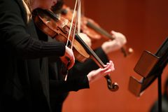 Klassieke muziek Violisten in overleg Stringed, violinistCloseup van musicus die de viool spelen tijdens een symfonie stock fotografie
