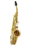 Klassieke muzikale instrumentensaxofoon die op witte achtergrond wordt geïsoleerd Stock Foto
