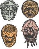 Klassieke oude Griekse dramamaskers Stock Foto's