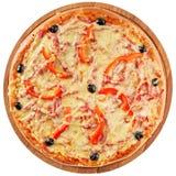 Klassieke pizza met tomaten en Spaanse peper Stock Foto